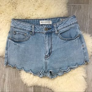 Bullhead Scalloped High Rise Jean Shorts